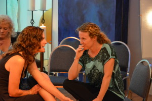 """Grads Amy Shamansky and Elizabeth Jacobowitz share a """"do -tell"""" moment..."""