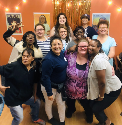 Institute Graduate Ann Davis (row 3 center, glasses) with institute student interns Gloria W. and Judith D. hosting a support group of Monarch School Parents. Typical of Ann, you'll often find her in the center getting things done, but not in the spotlight.