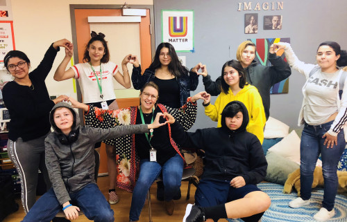 Ann (in polka-dots) with her students: When you work in the arts to help, it's all about the love