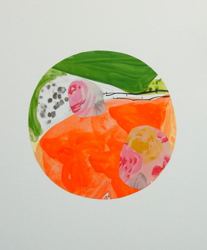 Circle of Life Acrylic ink and fabric on paper